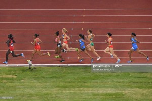 Kyrgystan's Daria Maslova (4th L) competes in the final of the women's 10,000m athletics event during the 2018 Asian Games in Jakarta on August 25, 2018. (Photo by Anthony WALLACE / AFP)        (Photo credit should read ANTHONY WALLACE/AFP via Getty Images)