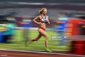 JAKARTA, INDONESIA - AUGUST 28:  Daria Maslova of Kyrgyzstan competes during Women's 5000m Final on day ten of the Asian Games on August 28, 2018 in Jakarta, Indonesia.  (Photo by Robertus Pudyanto/Getty Images)