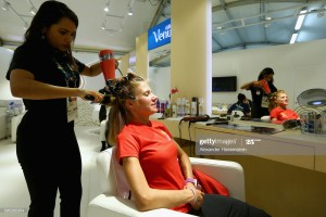 RIO DE JANEIRO, BRAZIL - AUGUST 02:  Marathon athlete Mariia Korobitskaya of Kyrgyzstan seen at the beauty salon at the Olympic Village ahead of the Rio  2016 Olympic Games on August 2, 2016 in Rio de Janeiro, Brazil.  (Photo by Alexander Hassenstein/Getty Images)